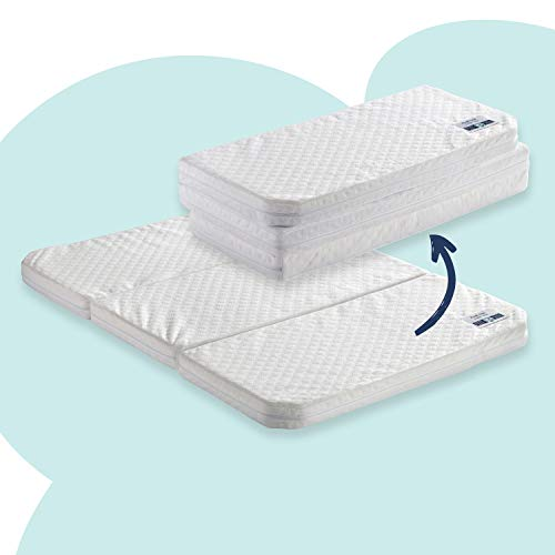 hiccapop Tri-Fold Travel Mattress [Exclusively Fits 4moms Breeze GO Portable Travel Playard & Breeze Plus Playard ONLY] | Dual Sided w/Firm Side (for Babies) & Soft Memory Foam Side (for Toddlers)