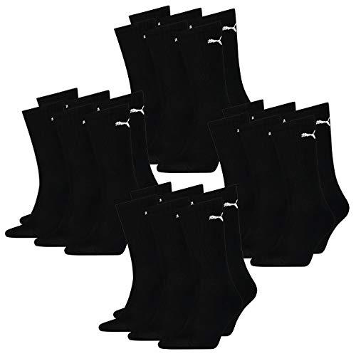PUMA Calcetines deportivos unisex para hombre y mujer, ligeros, paquete de 12, 35-38, 39-42, 43-46, 47-49, negro, blanco, gris y azul. negro 35-38
