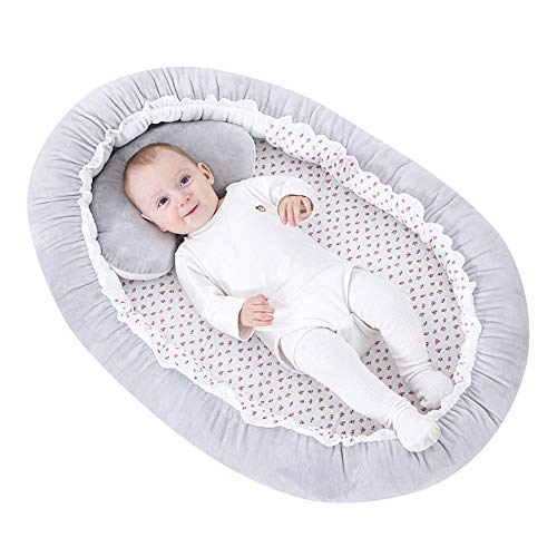 Baby Lounger and Baby Nest Sharing Co Sleeping Baby Bassinet - 100% Soft Cotton Cosleeping Baby Bed Premium Quality and Bigger Size (0-24months) -Breathable & Washable Portable Crib(Grey)