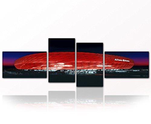 Bild auf Leinwand - modern Art Design FCB ARENA (Stadion Bayern 4teilig / 4x 30x50 cm ca. 55x165 cm) Kunstdruck auf Rahmen mit Bilder Motiv (München Bayern Arena). Beste Qualität, handgefertigt in Deutschland.