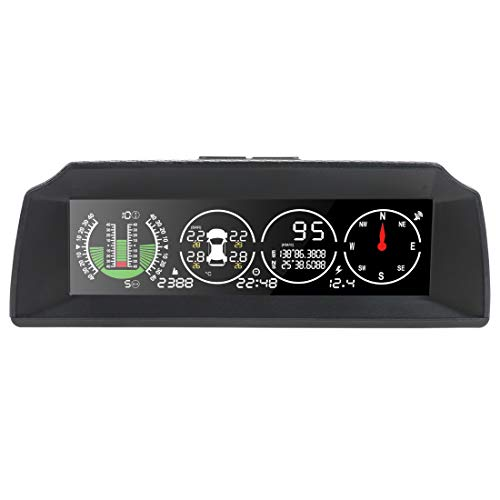 AUTOOL Automotive Replacement Multi Gauges, X91 Car HUD GPS Speedometer MPH/KPH Switch Car Electronic, TPMS tire Pressure Monitoring GPS Head-up Display Car inclinometer, Color HD LCD Screen