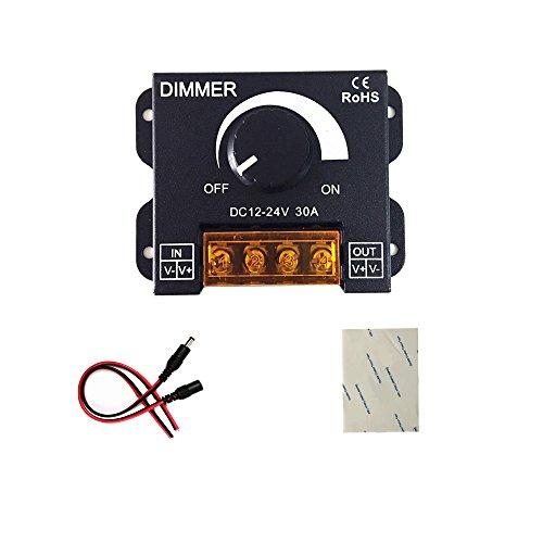(verbesserte Version)12V 24V 30A LED Dimmer Kontrolleur für Einzelfarbe LED Streifen Beleuchtung Lampe Band Licht Schwarz Knopf Kontrolle Helligkeit