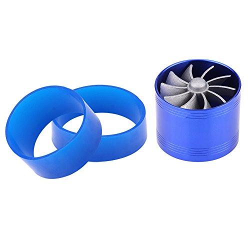 Qiilu 64mm Ventilateur de Double Turbine Turbo Fan Filtre à air d'admission Gas Fuel Saver Unique Supercharger De Voiture(bleu)