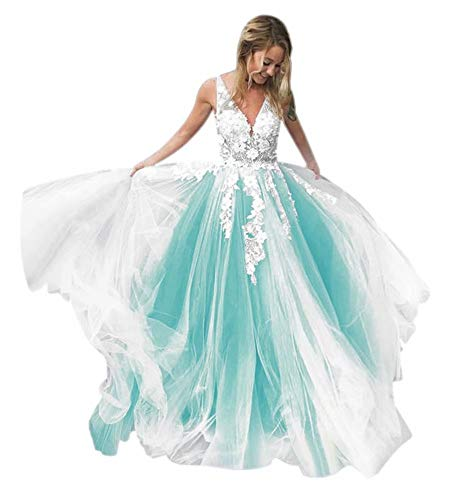 QueenBridal Women's Wedding Gown for Bride Tulle Lace Applique Long Evening Prom Dress QU197 Turquoise