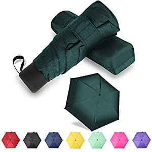 YUI Galleria Compact Travel Umbrella Sun&Rain Lightweight Small and Compact Suit for Pocket Dark Green