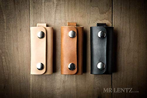 Leather Key Wrap, Key Cover, Leather Key Pocket (Made in USA by Mr. Lentz) 096