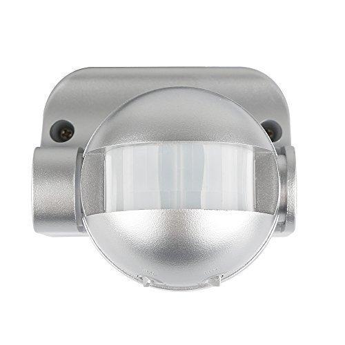 HUBER MOTION 2 Infrarot Bewegungsmelder 180° Innen/Außen Bewegungssensor IP44 I 230V Bewegungsmelder LED geeignet, vertikal verstellbar, silber