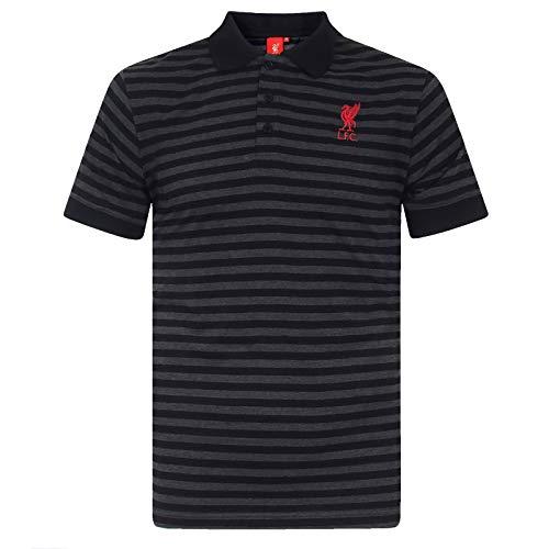 Liverpool FC - Herren Polo-Shirt mit Streifen - garngefärbt/meliert - Offizielles Merchandise - Geschenk für Fußballfans - Schwarz/Grau - XL