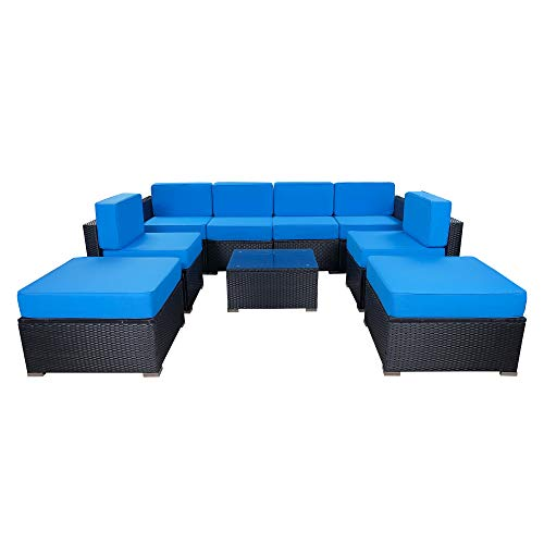 MCombo 9 Pieces Patio Furniture Sets with Glass Coffee Table, All-Weather Outdoor Sectional Sofa with Two Ottomans,Wicker Patio Conversation Set with Cushions 6082-9pc (Blue)