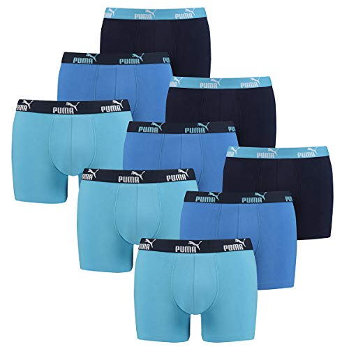 PUMA 9 er Pack Boxer Boxershorts Herren Unterwäsche sportliche Retro Pants, Farbe:101 - Blue Combo, Bekleidungsgröße:XL