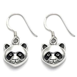 Sterling Silver Panda Face Wire Earrings