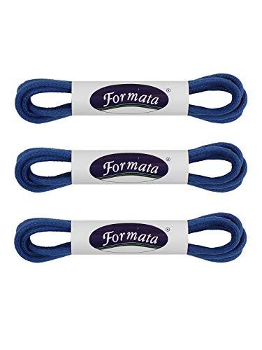 FORMATA Cordones redondos encerados [3 pares] para zapatos de traje, cordones de repuesto de cuero, muy resistentes, 2 mm de ancho, color azul, longitud 60 cm
