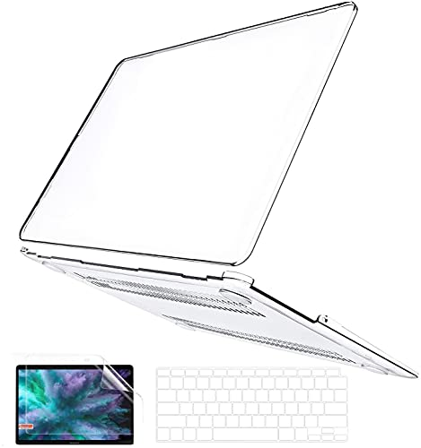 B BELK Compatible with MacBook Air 13 Inch Case 2021 2020 2019 2018 Release A2337 M1 A2179 A1932 Touch ID, Clear Plastic Laptop Hard Shell Case + Keyboard Cover + Screen Protector Retina, Transparent