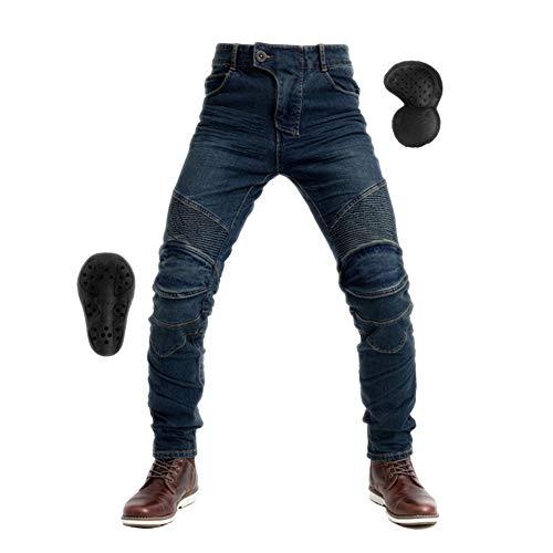 GELing Sportliche Motorrad Hose Mit Protektoren Motorradhose mit Oberschenkeltaschen,Blau,M