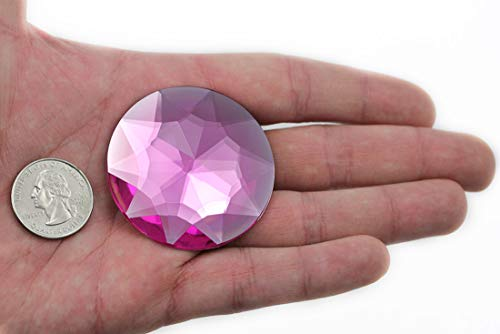 50mm Flat Back Round Acrylic Jewels Pro Grade Individually Wrapped - 4 Pieces (Pink H112)