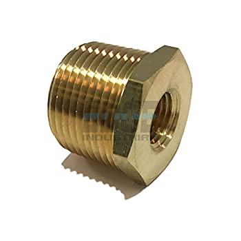 EDGE INDUSTRIAL Brass REDUCING HEX Bushing 3/4  Male NPT X 1/4  Female NPT Fuel / AIR/ Water / Oil/ Gas WOG  Qty 01