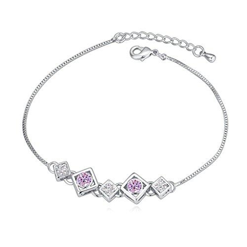 Beydodo White Gold Plating Bracelet For Women (Link-Bracelets),Austria Crystal Square Purple CZ 18CM