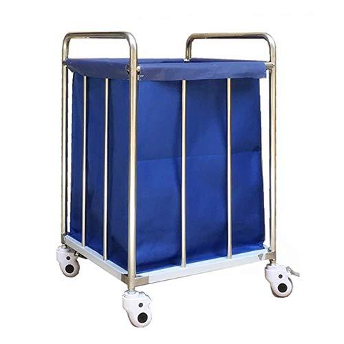 Yaeele Servierwagen Heavy Duty Hotels Wäscherei Bettwäsche Wagen auf Rädern, Blau Rollen Wäsche...