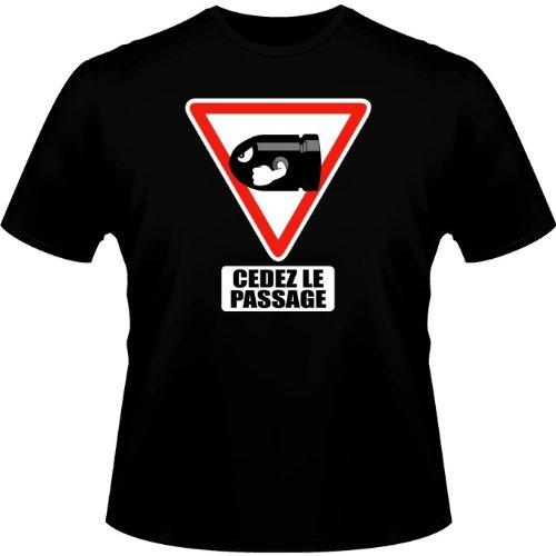 Okiwoki T-Shirt Noir Mario Kart parodique Bill Ball : Cédez Le Passage ! (Parodie Mario Kart)