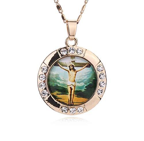 Jesús Collares Pendientes Cruz Collar Grande Mujeres Hombres Color Dorado Moda Declaración Virgen María Boho Joyas Collares