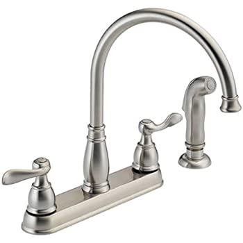 Delta Faucet Windemere 2-Handle Kitchen Sink Faucet with Side Sprayer in Matching Finish, Stainless 21996LF-SS,5