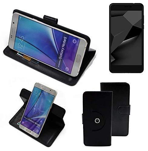 K-S-Trade® Handy Hülle Für Blaupunkt SL Plus 02 Flipcase Smartphone Cover Handy Schutz Bookstyle Schwarz (1x)
