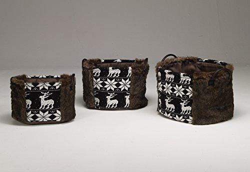 Artra Design 3-delige set bontmanden bruin wasmandjes Kerstmis bewaarmand voor het bewaren van tijdschriften, brandhout, dekens, badkamer en huishouden, gebreid, praktisch, opberghulp, opbergen