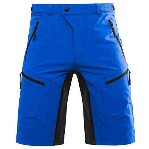 Hiauspor Herren-Fahrradhose-Mountainbike-Hose-kurz-MTB-Shorts Radhose Elastizität Outdoor Wanderhose Sportshose Fitnesshose Taschen mit reißverschluss(knallblau,M)