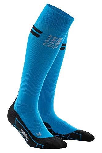 CEP - Merino Run Socks für Damen | Lange Laufsocken mit Kompressionswirkung | blau/schwarz | Größe II