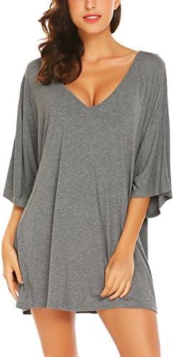 Ekouaer Deep V Neck Sleepshirt Sexy Cotton Nightshirt For Women Gray Large product image