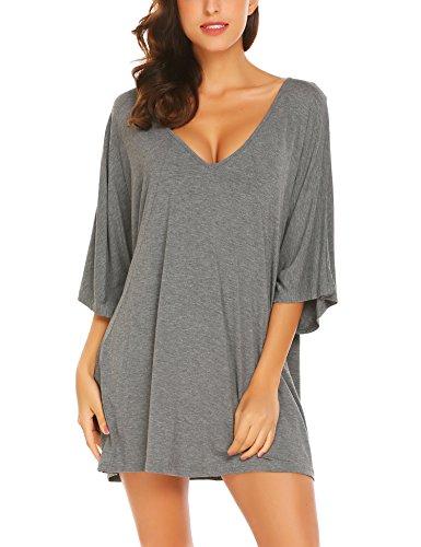 Ekouaer Deep V Neck Sleepshirt Sexy Cotton Nightshirt For Women Plus Size,Gray,Small