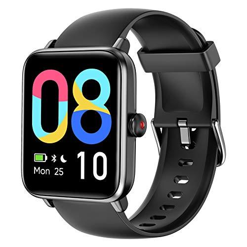 LETSCOM Smartwatch für Damen Herren, 1.55 Zoll Touch-Farbdisplay Armbanduhr, Fitnessuhr mit Schrittzähler, Pulsuhr und Blutsauerstoff-Monitor, Fitness Tracker 5ATM Wasserdicht Sportuhr Smart Watch