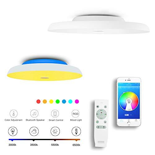 CHYSONGOODS (Aktualisierte) 36W 38CM 15.7 Inch Rund Deckenleuchte LED Mit Bluetooth Lautsprecher App Fernbedienung Dimmbar Farbwechsel Deckenlampe Zum Schlafzimmer Bad Wohnzimmer