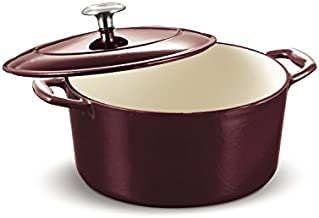 Tramontina 80131/037DS Enameled Cast Iron Covered Round Dutch Oven, 5.5-Quart, Majolica Red