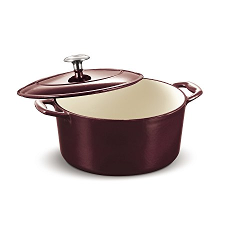 Tramontina 80131/037DS Enameled Cast Iron Covered Round Dutch Oven 55Quart Majolica Red