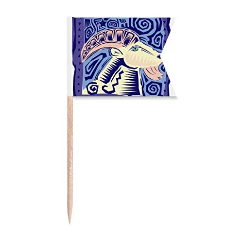 Sternbild Widder Mexikon Kultur Gravur Zahnstocher Flaggen Kennzeichnung für Party Kuchen Lebensmittel Käseplatte