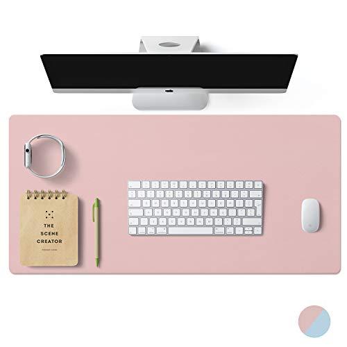 Hogar Office- Alfombrilla de escritorio de doble cara, gran alfombrilla de escritorio para ordenadores, antideslizante, multifuncional, de piel sintética, accesorios de oficina en casa para escritorio
