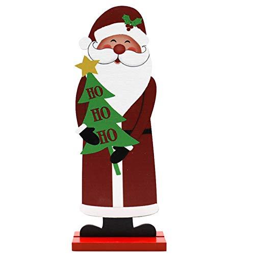 CMTOP Decorazioni Natalizie Ornamenti Decorativi da Tavolo in Legno Figura in Legno Artigianato di Stampa Creativa Adatto per la Domestica di Natale Cervo Ornamenti di Legno per la casa Desktop