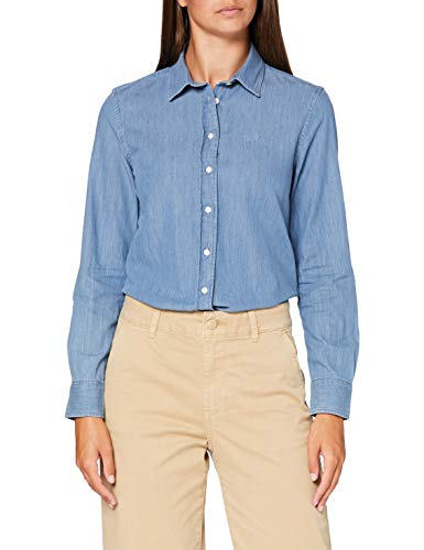 GANT Damen O1. Luxury Chambray Shirt Bluse, Blau (Light Blue 990), (Herstellergröße: 40)