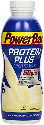 PowerBar Protein Plus High Protein Drink Vanilla 12x500ml - High Protein Low Sugar Sportmilch + Low Fat