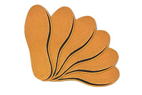 Kaps Set di 6 paia di Solette per Scarpe in Cuoio Naturale per Uomo e Donna con Sottostrato in Carbone Attivo, Inserti di Ricambio, Tutte le Dimensioni, (40 EUR)