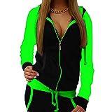 Yying Donna Due Pezzi Abiti Autunno Donna Moda Tuta da Donna con Cappuccio con Coulisse Vestiti Femminili Tuta Verde Fluorescente L