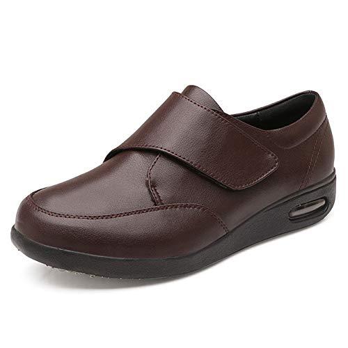 SZFGYJ Zapatos para Diabéticos para Hombres, Zapatillas De Cuero para Caminar, Ligeras Y Ajustables, para Ancianos, Zapatillas Extra Anchas para Edema Unisex Y Artritis Inflamada,Marrón,43
