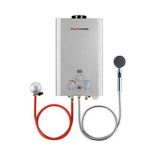 Tankless Gasdurchlauferhitzer, Thermomate BE211S 8L Propangas-Warmwasserbereiter, Sofortige Tragbarer Propangasdusche Warmwasserboiler 16kW für Camping, Wohnmobil…