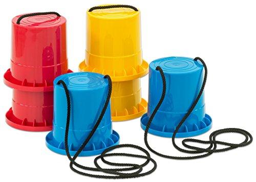 Betzold Sport - Topfstelzen-Set 3 Paar Kinderstelzen Kunststoff Becher-Stelzen Laufstelzen