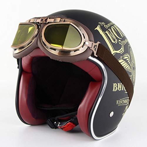 DUCCM Motocicleta Casco Adulto,Vintage Casco Moto,Casco de Moto Unisex Retro,para Bicicleta eléctrica...