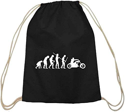 Shirtstreet24, EVOLUTION CHOPPER, Biker Motorrad Baumwoll natur Turnbeutel Rucksack Sport Beutel, Größe: onesize,schwarz natur