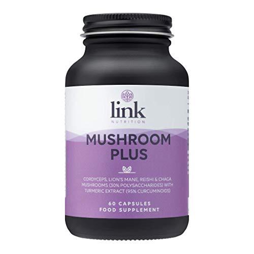 Mushroom Plus | Contains 4 Mushrooms, made from 9200mg of raw mushroom + Turmeric Extract | Reishi, Lions Mane, Cordyceps, Chaga | Vegan | Made in The UK by Link Nutrition | 60 Vegecaps