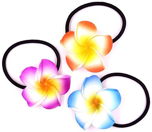 Made in zen Lot de 3 Élastique à Cheveux Fleur Hair Elastic Flower Tiaré Vahiné Tahiti Bleu Orange Violet