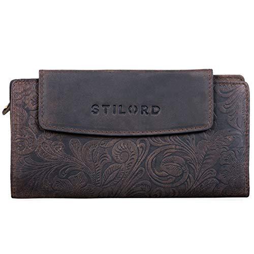 STILORD 'Lorelai' Cartera Piel Mujer Monedero Grande Vintage Billetera para Tarjetas DNI Billetes de Cuero auténtico, Color:Canyon - marrón
